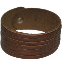 Bracelet cuir marron 7 lanières