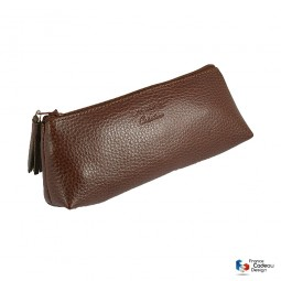 Trousse triangle en cuir marron