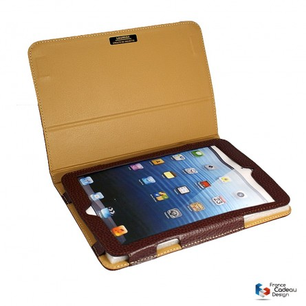 Etui IPAD mini en cuir marron LAURIGE
